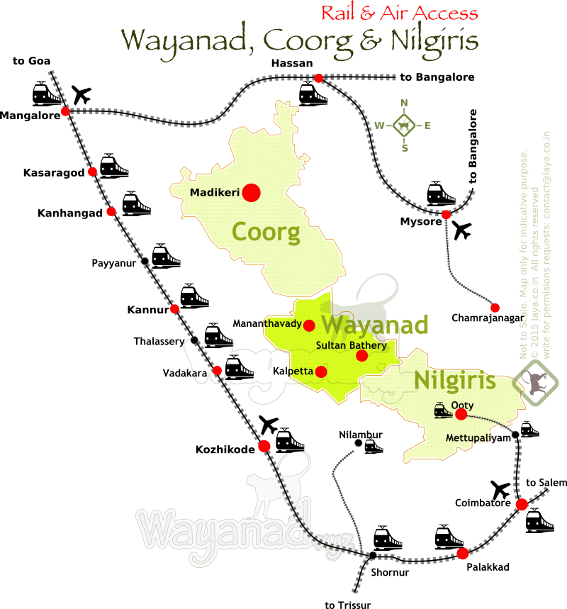 Wayanad Coorg Nilgiris Rail And Air Access Map Rail Routes And - Kanhangad map